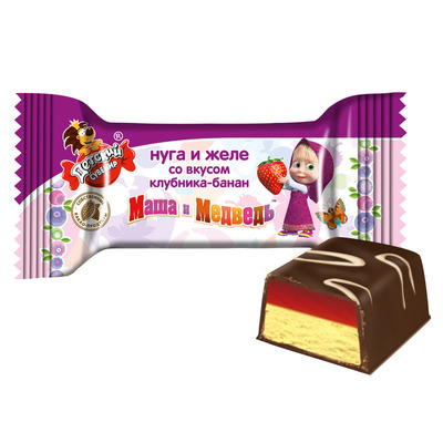 «Kid's souvenir» nougat and jelly with strawberry and banana flavor